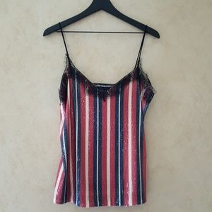 Zara Tops - Zara striped top with sequins red white and blue